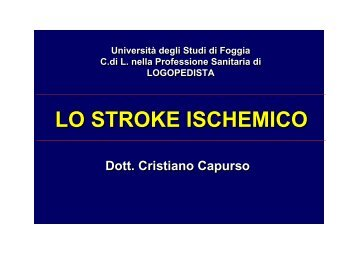 lo stroke ischemico - Facoltà di Medicina e Chirurgia - Università ...