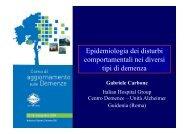Epidemiologia dei disturbi comportamentali nei diversi tipi di demenza