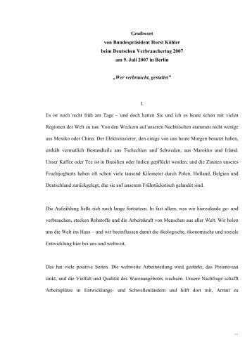 Grußwort von Bundespräsident Horst Köhler beim Deutschen ... - vzbv