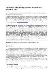 Molecular epidemiology of avian pneumovirus strains in Italy - CABI