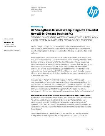 HP Strengthens Business Computing with Powerful New All-in-One and Desktop PCs