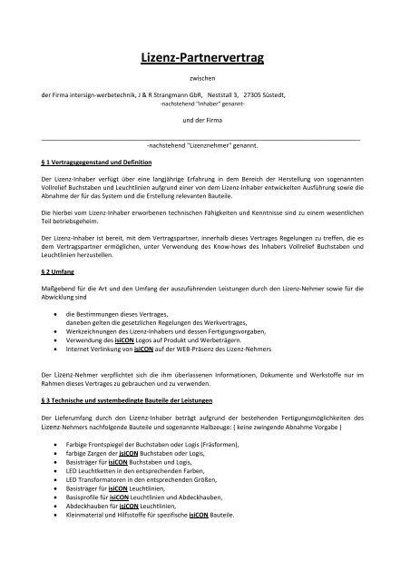 Lizenz-Partnervertrag - Intersign Werbetechnik
