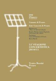 51a Stagione Concertistica 201... - Pesaro Cultura