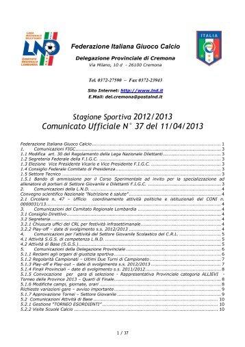 Comunicato Ufficiale N° 37 del 11/04/2013 - Informacalcio.it