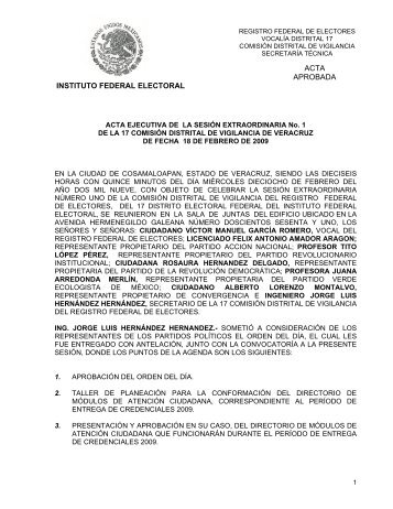 ACTA EJECUTIVA DE LA SESIN ORDINARIA No - Instituto Federal ...