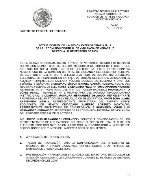 Acta Ejecutiva De La Sesin Ordinaria No Instituto Federal