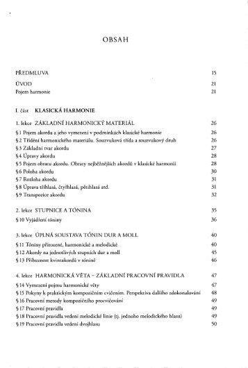 PŘEDMLUVA 15 ÚVOD 21 Pojem harmonie 21 I. část KLASICKÁ ...
