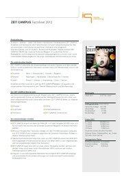 ZEIT CAMPUS Factsheet 2012 - IQ media marketing