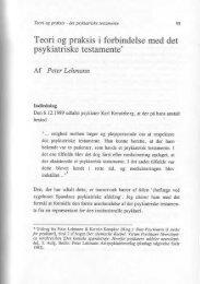 Teori og praksis i forbindelse med det psykiatriske testamente.