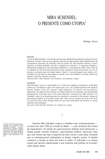 mira schendel: o presente como utopia1 - Revista Novos Estudos