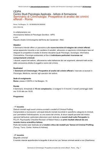 Seminario di Criminologia: Prospettive di analisi dei crimini efferati ...