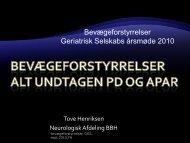 Bevægeforstyrrelser Geriatrisk Selskabs - Dansk Selskab For Geriatri