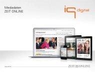 Mediadaten ZEIT ONLINE - IQ media marketing