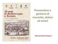 Prevenzione e gestione di mucosite, dolore ed ... - Congressiairo.It
