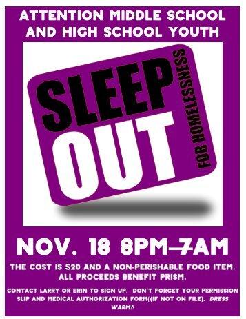 November 2, 2011 Dear Sleep Out For ... - St. Joseph Parish