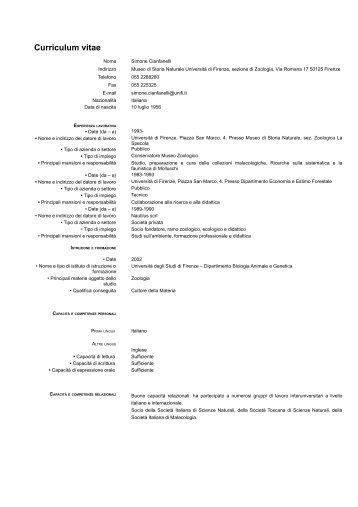 Curriculum vitae - Museo di Storia Naturale - Università degli Studi ...
