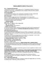 REGOLAMENTO GIRO D'ITALIA 2013 - Ruote Amatoriali