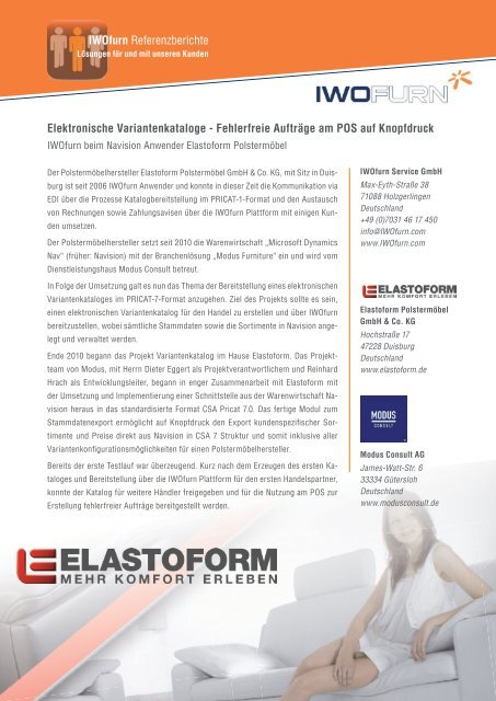 Elastoform: Elektronische Variantenkataloge - IWOfurn