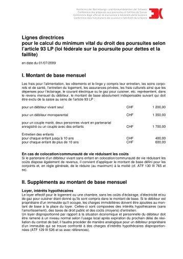Richtlinien Existenz-Minimum 2009 franzoesisch