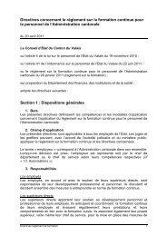 Directives concernant le règlement sur la formation ... - Etat du Valais