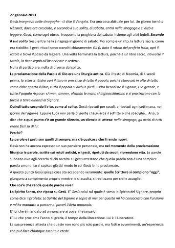 Omelia del 27 gennaio 2013 - Coro Campogalliano