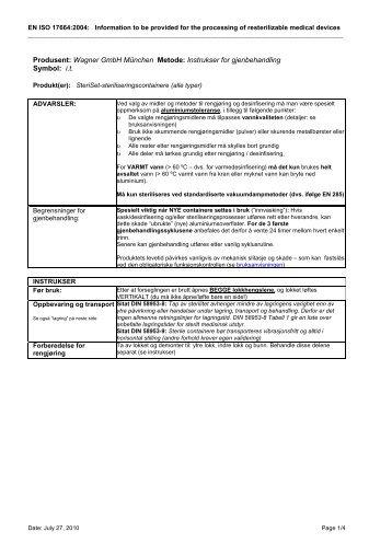 Produsent: Wagner GmbH München Metode: Instrukser for ...