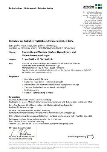 Einladung zur ärztlichen Fortbildung der Internistischen Reihe ...