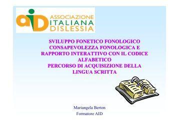 Relazione Dott.ssa Mariangela Berton - Conegliano 2000