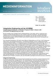 Integriertes Engineering auf der ACHEMA - InfraServ GmbH & Co ...