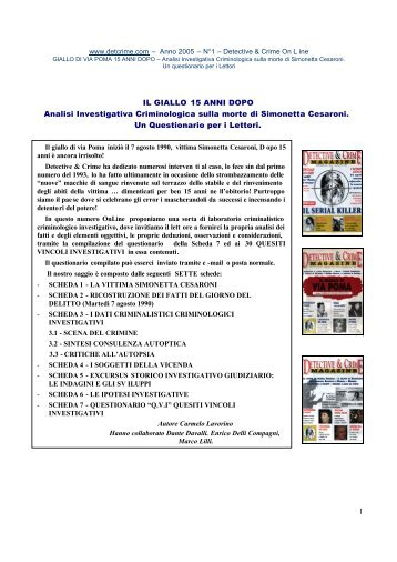 1 IL GIALLO 15 ANNI DOPO Analisi Investigativa ... - Serial killer