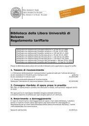 Biblioteca della Libera Università di Bolzano Regolamento tariffario