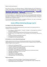Senior Affiliate Marketing Manager (w/m) - Jaron
