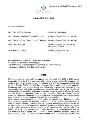 Decisione n. 3618 del 5 novembre 2012 - Arbitro Bancario Finanziario