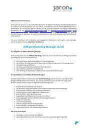 Affiliate Marketing Manager - Affiliate Marketing Management - Jaron