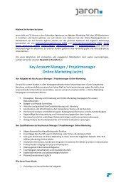 Key Account Manager / Projektmanager Online-Marketing - Jaron