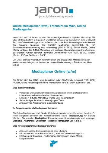 Online Mediaplaner (w/m), Frankfurt am Main, Online ... - Jaron