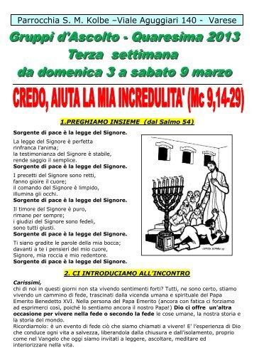 3° Incontro Vangelo di Marco Quaresima 2013 - Parrocchia Kolbe
