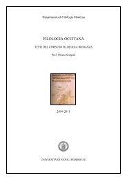 FILOLOGIA OCCITANA - Dipartimento di Filologia Moderna