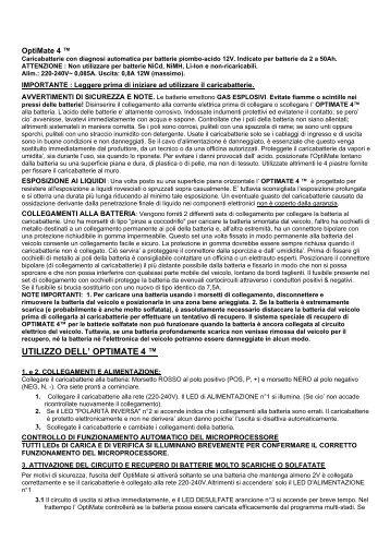 UTILIZZO DELL' OPTIMATE 4 ™ - CarpiMoto