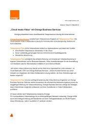 """""""Cloud meets Video"""" mit Orange Business Services"""