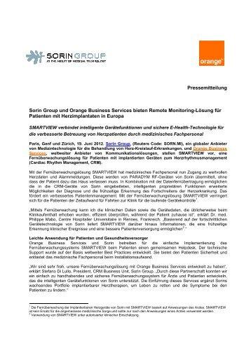 Sorin Group und Orange Business Services bieten Remote