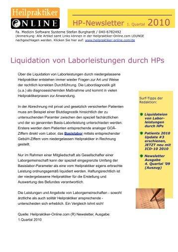 HP-Newsletter 1. Quart. 2010 - Heilpraktiker-Online.com