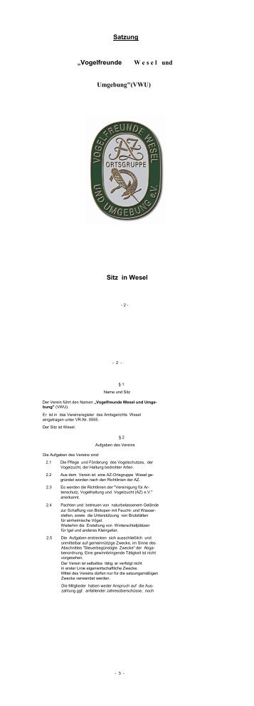 Satzung des Vereins - Vogelfreunde Wesel u. Umgebung e.V.