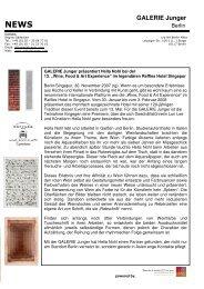 Pressemitteilung vom 30. November 2007 - Die GALERIE Junger