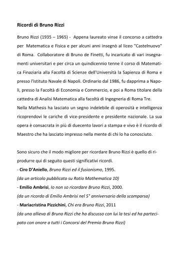 6. Ricordi di Bruno Rizzi - Euclide. Giornale di matematica per i ...