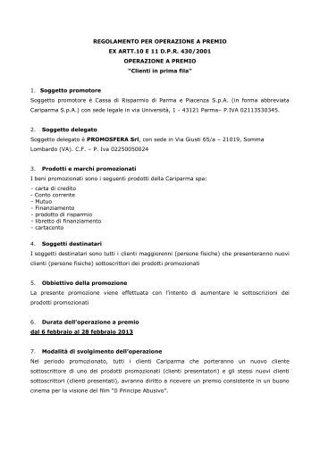 REGOLAMENTO PER OPERAZIONE A PREMIO - Cariparma