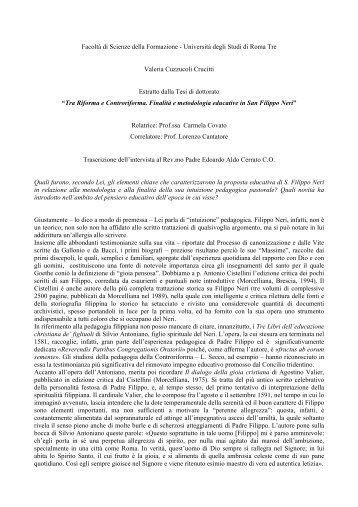 intervista - Confederazione dell'Oratorio di San Filippo Neri