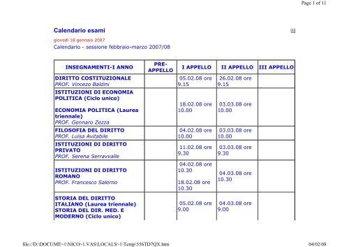 Calendario Esami Giurisprudenza Unina.Prof Giancarlo Scalese 1