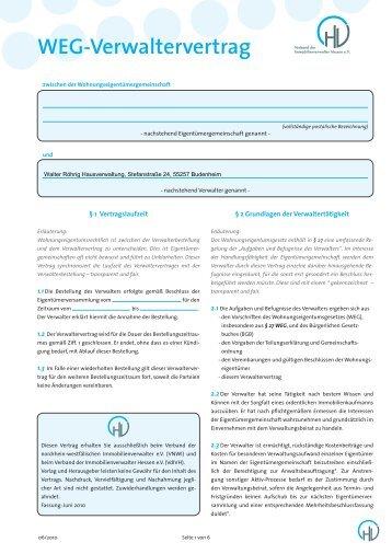 Verwaltungsvertrag 2010 - Walter Röhrig Hausverwaltung