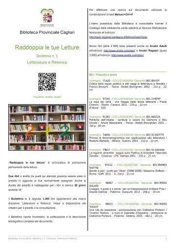 Raddoppia le tue Letture - Biblioteca Provinciale di Cagliari